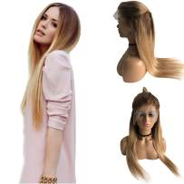 Long Ombre Human Hair Lace Front Wigs Pre Plucked with Baby Hair Medium Brown to Blonde Balayage Glueless Virgin Hair Bleached Knots Lace Frontal Wigs Full Head 24 Inch for Black Women