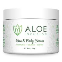 Aloe Infusion Body and Face Moisturizer - All Natural Eczema Cream for Itchy Dry Skin, Sensitive Skin, Acne and Psoriasis - Organic Aloe Vera, Shea Butter, Coenzyme Q10, Grape Seed Oil, Kukui Nut Oil