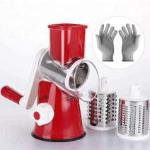 KARIDGE Rotary Cheese Grater with Cut Resistant Gloves, Kitchen Round Mandoline Veggie Slicer with 3 Interchangeable Blades for Grating, Shredding and Slicing for Cheese, Vegetables and Nuts (Red)