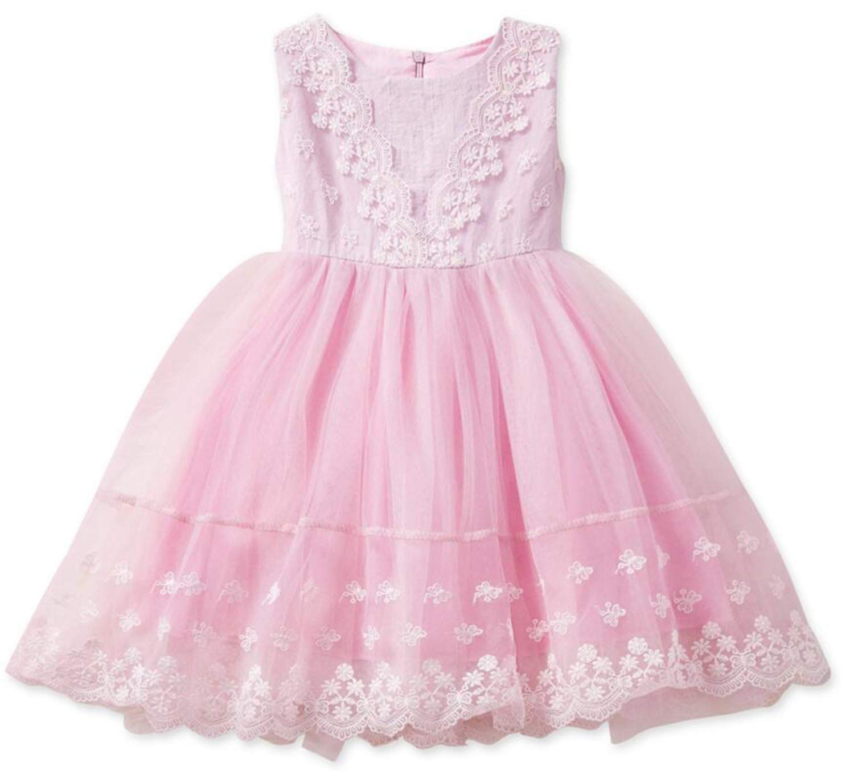 Baby Girls Birthday Party Tutu Dress Sequin Flower Backless Bowknot Princess Dress TZ05