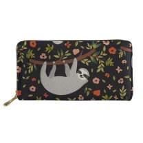 Horeset Zipper Wallet for Women, Cute Sloth Wallet Purse Zipper Clutch Long Card Case Money Organizer