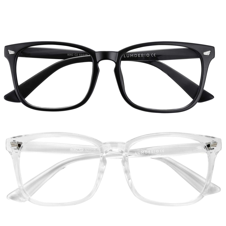 Blue Light Blocking Glasses Anti Eyestrain Eyeglasses Filter Ray Computer Gaming Reading Nerd Square Frame Unisex (Women/Men) 2Pack