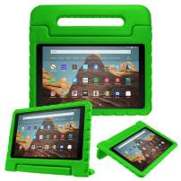 Fintie Case for All-New Amazon Fire HD 10 (7th and 9th Generations, 2017 and 2019 Releases) - Kiddie Series Shock Proof Light Weight Convertible Handle Stand Kids Friendly Cover, Green