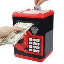Kelibo Electronic Money Bank for Kids, Elctronic Password Security Piggy Bank Mini ATM Cash Coin Saving Box Smart Voice, Toy Gifts Birthday Gift for Children (Red)