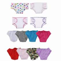 XADP 12 Pack Doll Diapers Underwear Set for 14 Inch to 16 Inch Baby Dolls, 18 Inch American Girl Doll, and Other Similar Dolls, 4 Diapers + 8 Pants