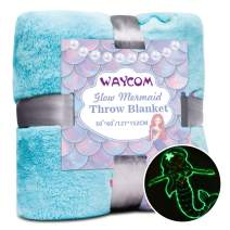 WAYCOM Glow in The Dark Throw Blanket,Super Soft Mermaid Theme Pattern Flannel Blanket Mermaid Luminous Blanket Christmas Fun Gift for Girls Boys Kids 60''x50''