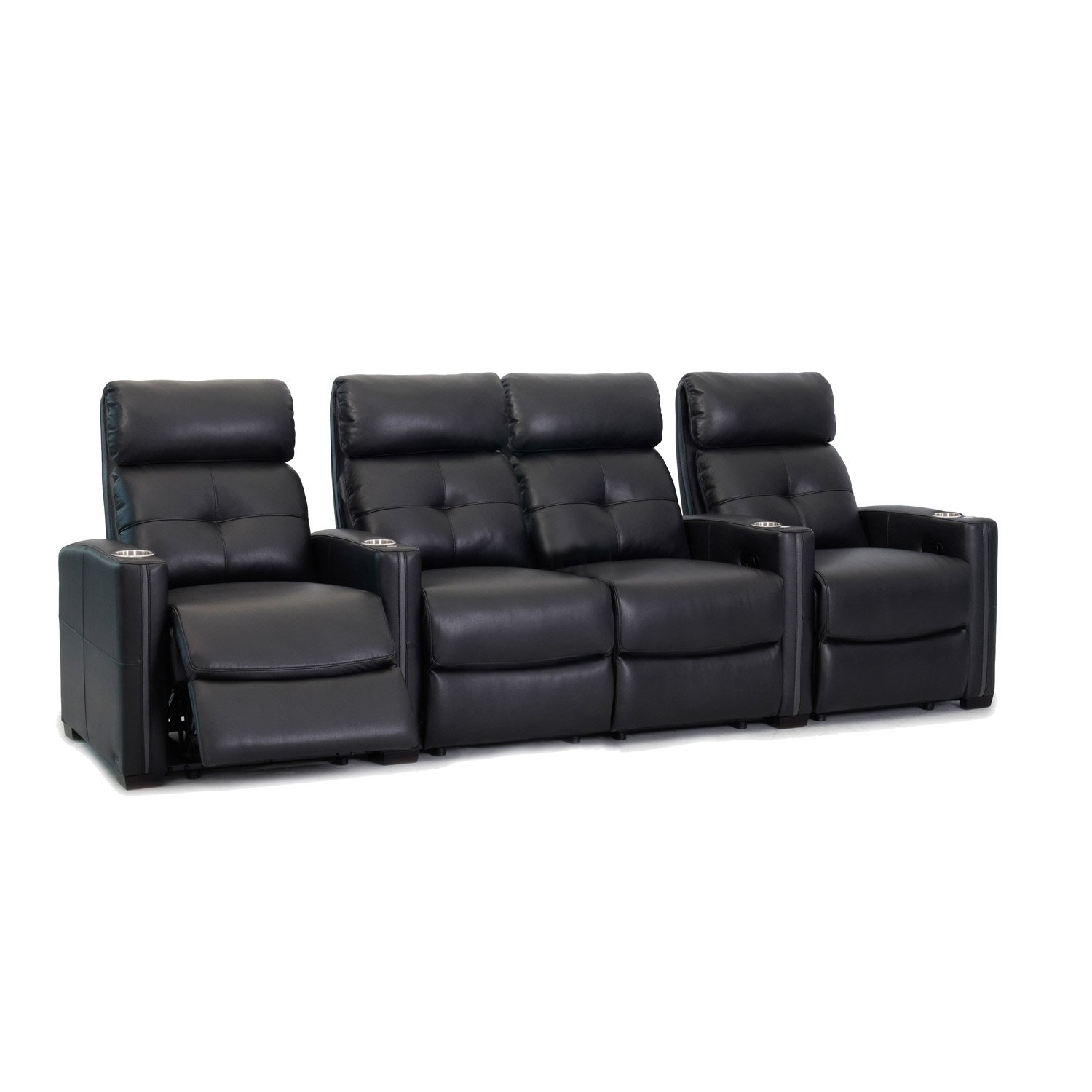 Octane Seating Cloud XS850 Home Theater Chairs - Black Bonded Leather - Manual Recline - Row 4 Seats with Center Loveseat - Space Saving Design