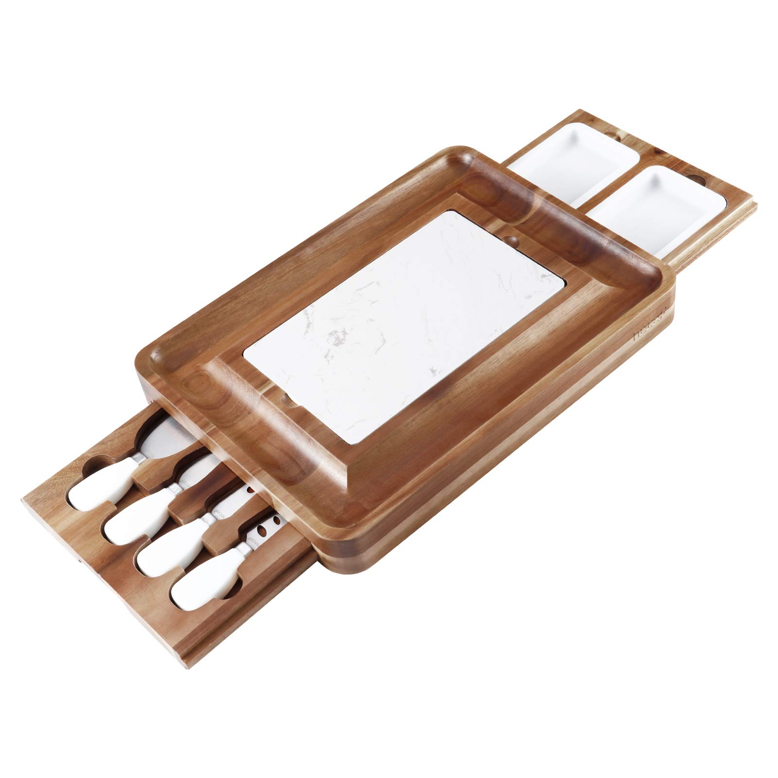 Hecef Acacia Wood Cheese Board Set, Square Cheese Platter with 2 Slide-Out Drawers& Cutlery Set& Snack Plates& Marble Cheese Slate, Perfect Charcuterie Board for Serving Appetizers and Fruits (White)
