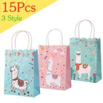 Aytai 15Pcs Llama Party Favor Bags, Llama Party Supplies, 3 Styles Llama Goody Bags for Kids Birthday Party Baby Shower, Pink/Blue/Mint Green