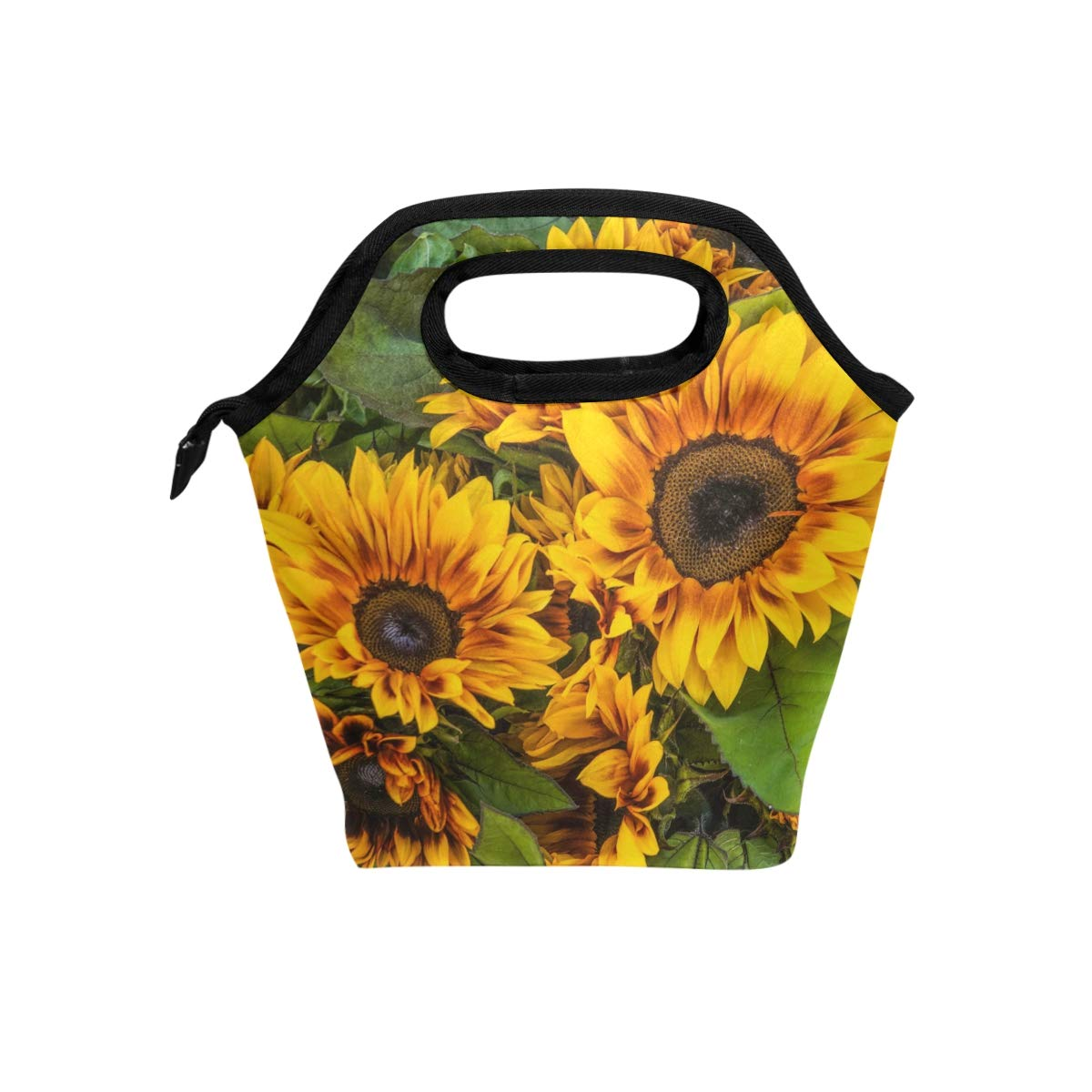 Naanle Floral Flower Insulated Zipper Lunch Bag Cooler Tote Bag for Adult Teens Kids Girls Boys Men Women, Sunflower Lunch Boxes Lunchboxes Meal Prep Handbag for Outdoors School Office