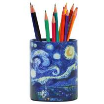 LIZIMANDU PU Leather Pencil Pen Holder,Round Pencil Cup Stationery Desk Organizer Control Storage Box for Home Office Bedroom(1 Pack,1-Starry Sky)