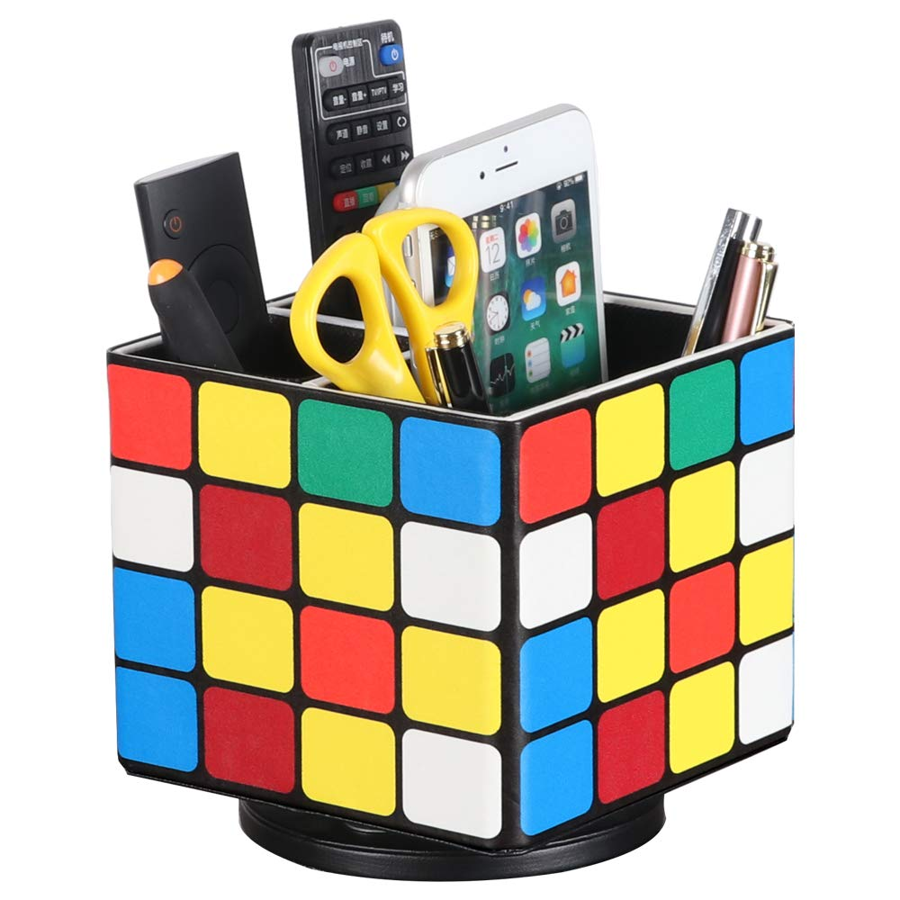 Leather Remote Control Holder, 360 Degree Spinning Desk TV Remote Caddy/Box, Coffee Table Organizer for Controller, Media, Calculator, Mobile Phone and Pencil Storage (Rubik's Cube)