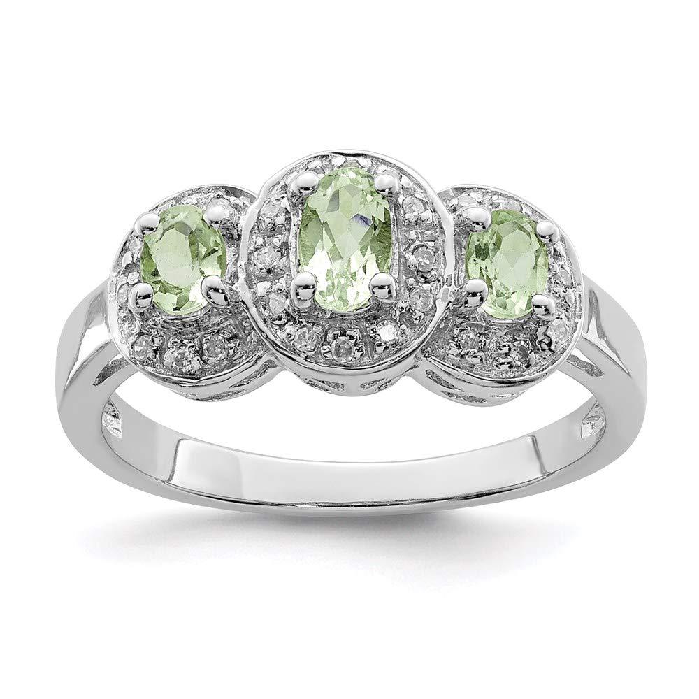 925 Sterling Silver Green Quartz Diamond Band Ring Stone Gemstone Fine Jewelry For Women Gift Set