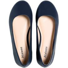 Ataiwee Women's Wide Width Flat Shoes - Comfortable Round Toe Classic Cute Slip-on Ballet Flats.
