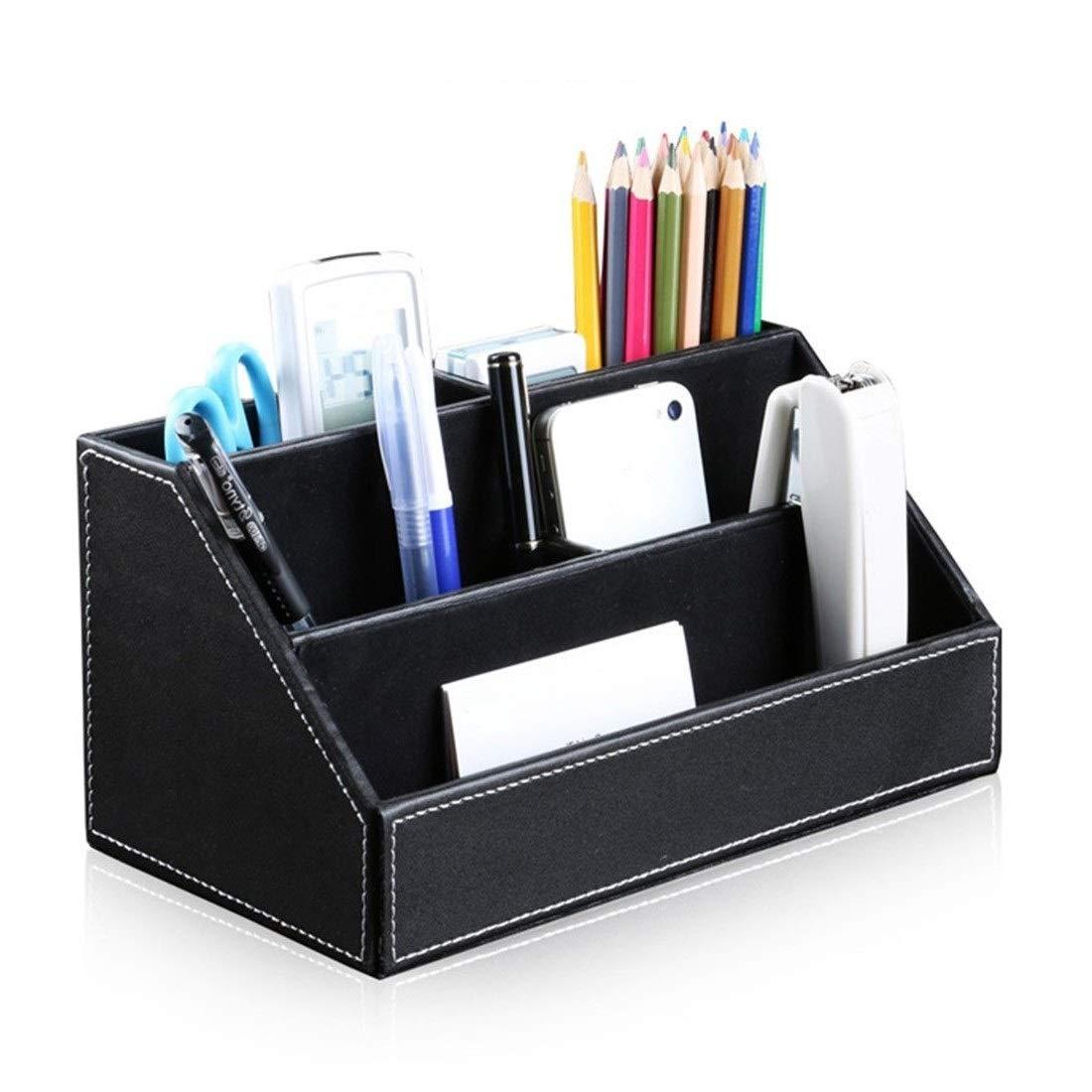 Bargain Crusader Black PU Leather Remote Controller Holder TV Guide CD DVD Controller Organizer Desk Caddy Stationery Organizer Caddy Stationery Holder (L:9.45 x W:5.3 x H:4.3/1.6 inches, Black)