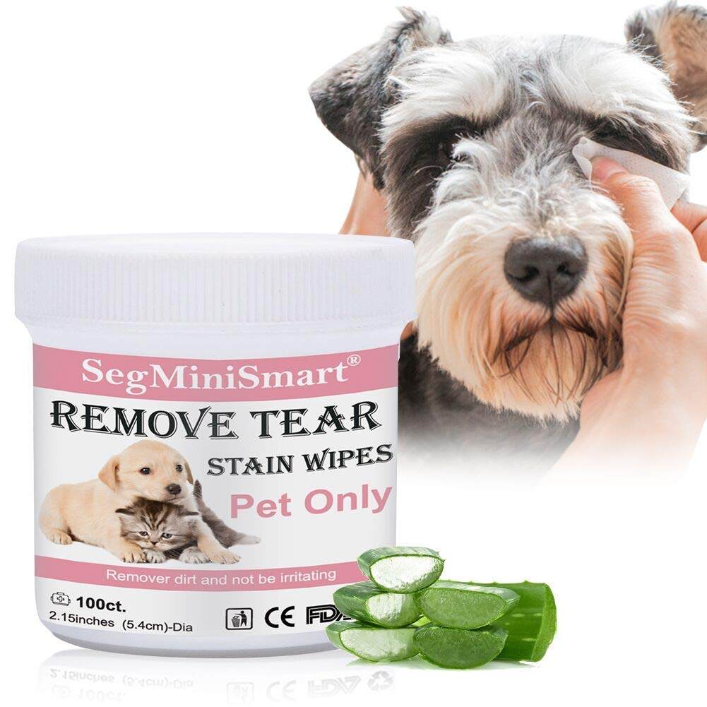 SEGMINISMART Eye Tear Stain Remover Wipes for Cats & Dogs, Best Natural Eye Crust Treatment for White Fur, 100 Pre Soaked Cotton Pads