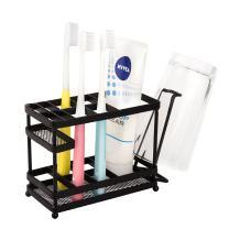 VANRA Metal Toothbrush Holder Stand Bathroom Toothpaste Storage Organizer & Countertop Makeup Organizers (Black)