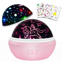 Unicorn Gifts for Girls,Kids Night Light,Rotation and Colorful Light Projector for Kids Bedroom,Little Girls Birthday Gifts, Gift for 1-10 Years Old Toddler Girls Toys(Pink)