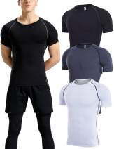 Lavento Men's 3 Pack Compression Shirts Dri Fit Short-Sleeve Crewneck Workout T-Shirts