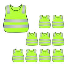 Kids Safety Vest Reflective High Visibility Vest Breathable Traffic Vest Costume Construction Vest Elastic Strap Safety Vest Neon Yellow Purpose for Running Cycling Jogging 10PCS