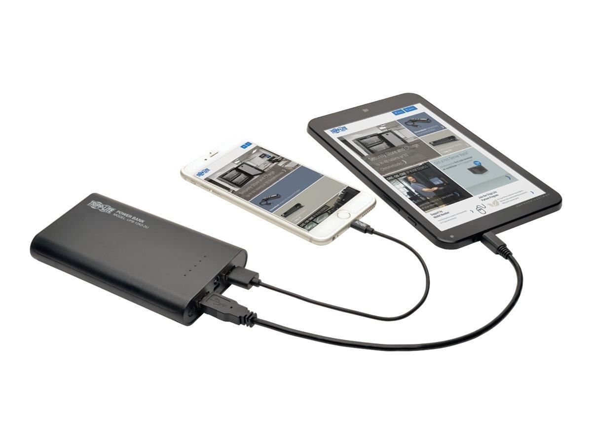 TRIPP LITE Portable 12,000mAh Mobile Power Bank USB Battery Charger, Dual Port (UPB-12K0-2U),Black