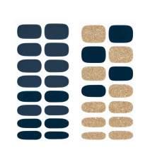[N Cerulean Navy] Real Gel Nail Strip by ohora - 30pcs with Prep pad, Mini nail file, Wood stick, DIY Nail Art Starter Kit, No Glue, Non Soak-off