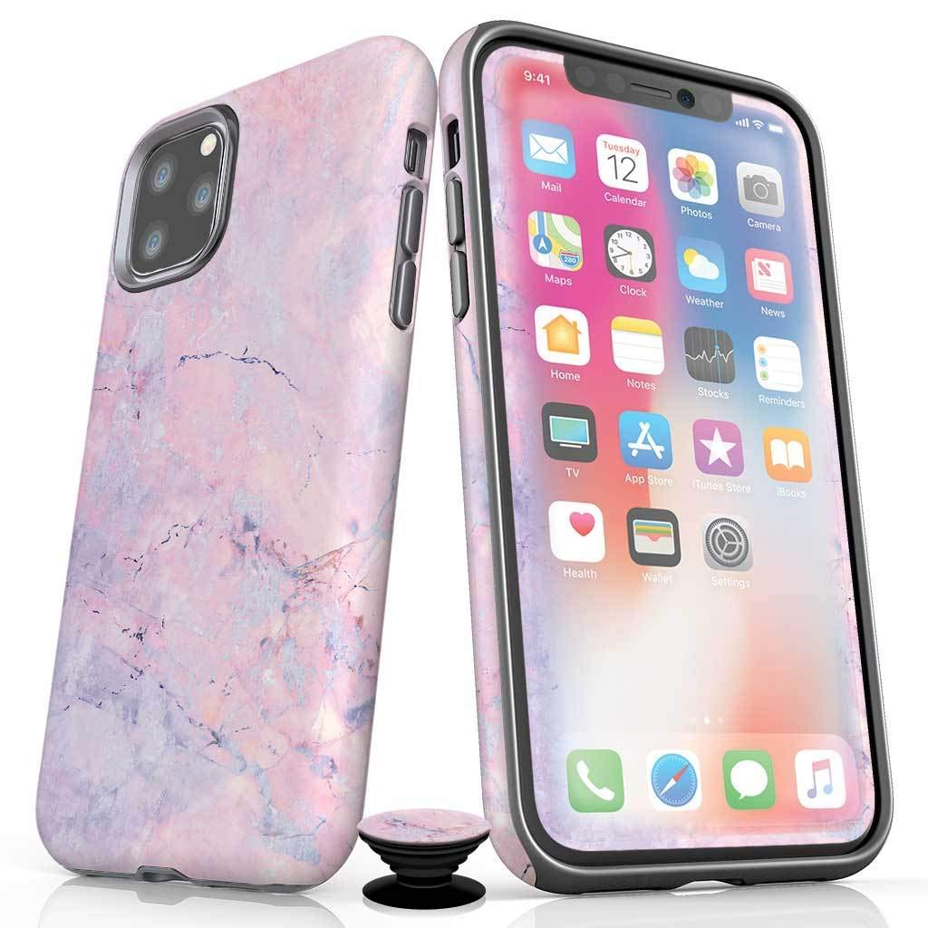 Screenflair- iPhone 11 Pro Max Accessory Bundle - Designer Drop Tested Matte Protective Case - Shatterproof and Scratch Resistant Screen Protector - Phone Grip - Cotton Candy Marble Design