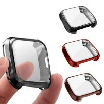 3 Packs Screen Protector Compatible Fitbit Versa, GHIJKL Ultra Slim Soft Full Cover Case for Fitbit Versa, Black, Red, Coffee