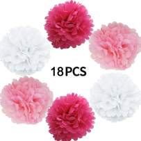 """Tissue Paper Pom Poms 18 Pieces Tissue Paper Flower Decorations for Baby Shower Birthday Wedding Party Hanging Pom Poms,8' 10"""" 12"""""""