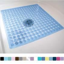 Gorilla Grip Original Patented Bath, Shower, Tub Mat, 21x21, Machine Washable, Antibacterial, BPA, Latex, Phthalate Free, Square Bathroom Mats with Drain Holes, Suction Cups, Blue