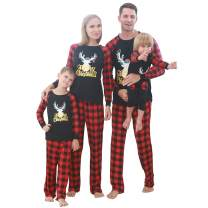 Holiday Family Matching Pajamas Cotton Pjs Set Sleepwears Long Sleeve Battery Tops Striped Pajamas Pant Family Jammies Set