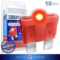 CARAX Glow Fuse – Premium Fuse STANDARD/Regular Blade – 10A Kit 10 pcs – Glow When Blown LED Automotive Fuse – Smart Auto Glow Fuse Easy Identification – 10 pcs.