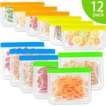 Reusable Snack Bags, Kollea 12 Pack Ziplock Storage Bags (6 Reusable Sandwich Bags & 6 Reusable Snack Bags), Extra Thick Freezer Bags Leakproof Food Silicone Reusable Storage Bags (12 Pack)