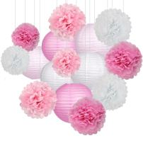 15Pcs Party Pack Paper Lanterns and Pom Pom Balls Hanging Decoration for Wedding Birthday Baby Shower-Pink/White