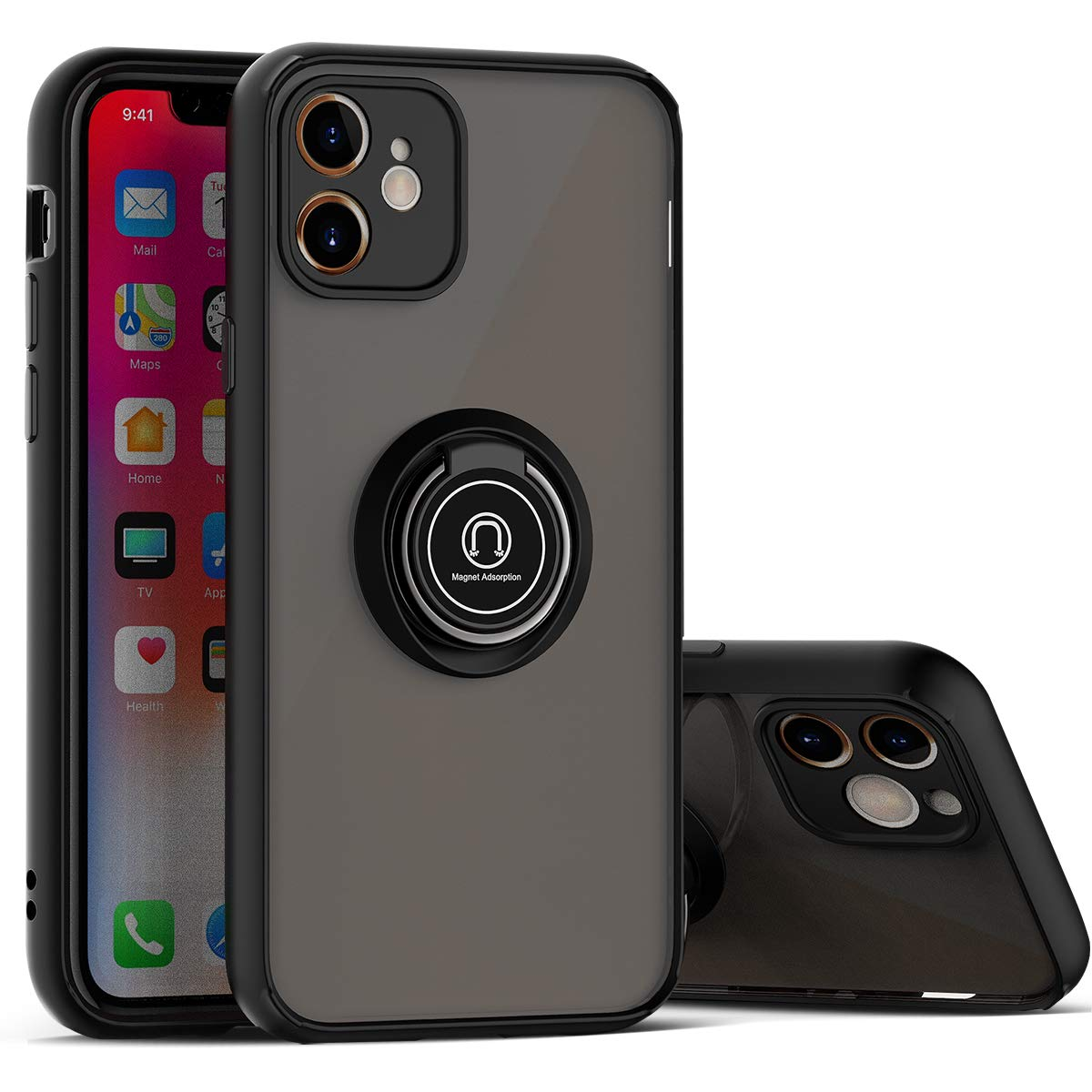 BIBERCAS iPhone 11 Case with Ring Holder,360° Rotation Magnetic Ring Grip Stand with Camera Lens Protector for iPhone 11,Slim Fit Matte Protective Shockproof iPhone 11 Cover Case 6.1 inch-Black