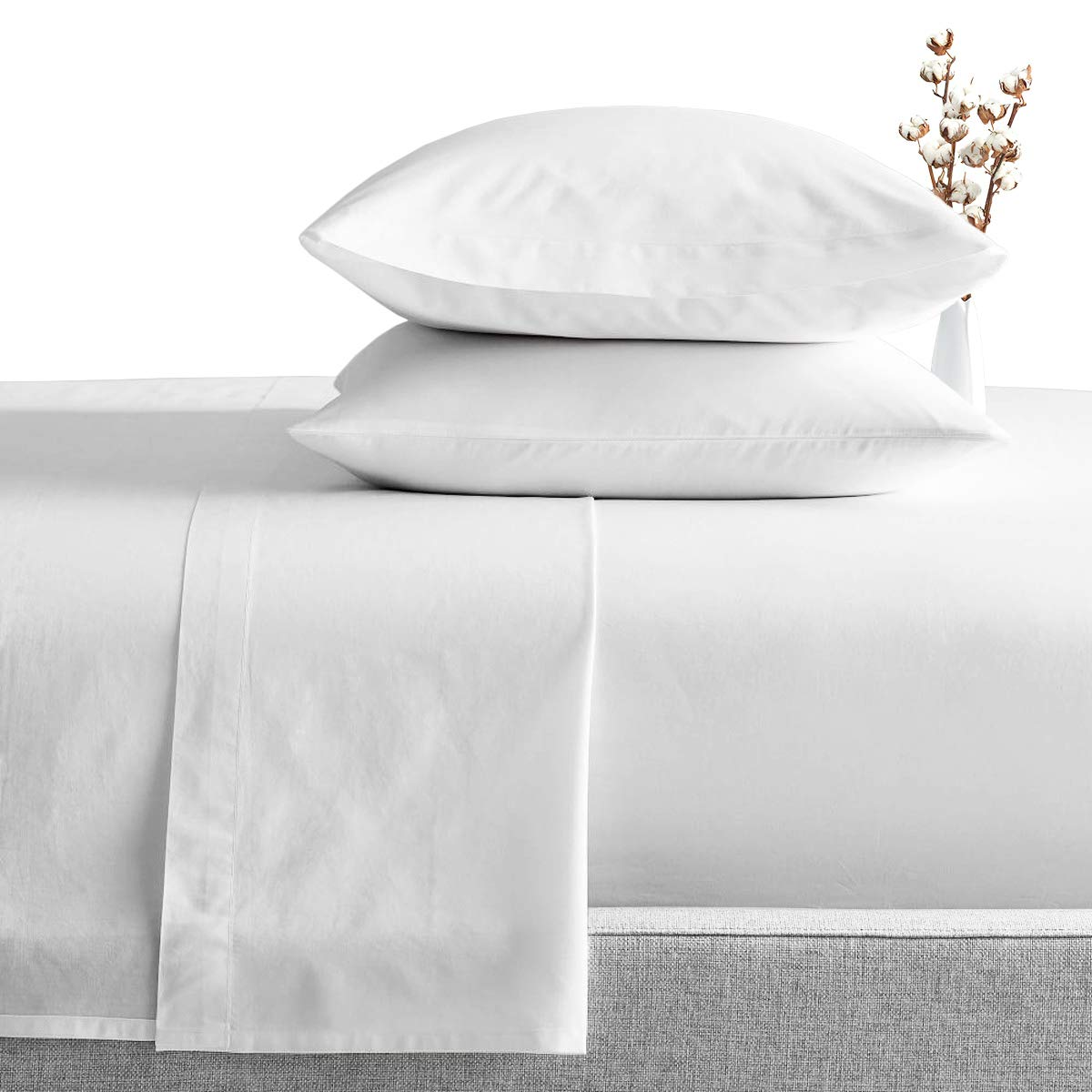 SGI bedding Full Size Sheets Luxury Soft 100% Egyptian Cotton - Sheet Set for Full Size 54x75 Mattress White Solid 600 Thread Count Deep Pocket