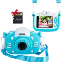 MINIBEAR Kids Digital Camera, 2.4 Inch Kids Video Camera for Girls Boys Gifts Toddler Toy Camera 30MP Mini Kids Camcorder with Games and 16GB SD Card, Blue