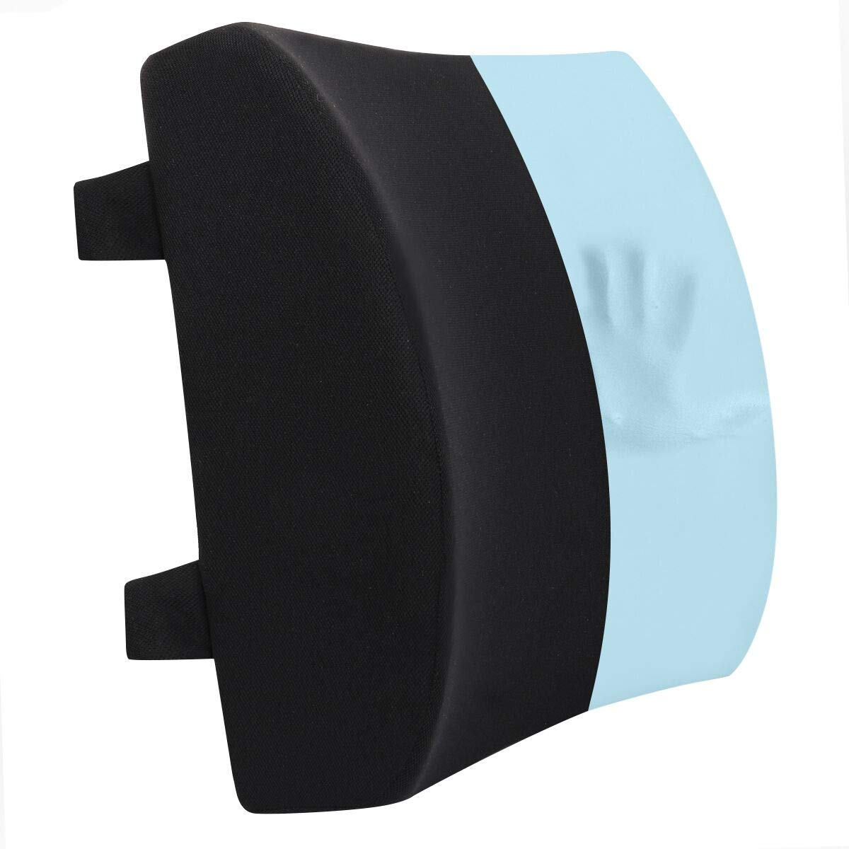 Wishcush Lumbar Support Pillow, Memory Foam Back Cushion for Car Office Computer Chair, Ergonomic Back Support Pillow for Back Pain Relief (Black)