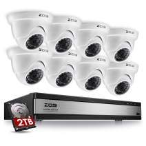 ZOSI 720p 16 Channel 8 Camera Security System,16 Channel Full HD DVR Recorder with 8 x 1280TVL(720p) Dome Camera Outdoor/Indoor,Motion Detection and Remote Access Easily,2TB Hard Drive Installed