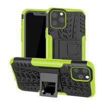 Lantier Hybrid Armor Shockproof Impact Protection Tough Hard Rugged Heavy Duty Combo Dual Layer Protective Case with Kickstand for iPhone 11 6.1 Inch (2019) Green