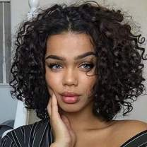 """YAMI Kinky Curly Lace Closure Wig lace wigs Human Hair Bob lace Closure Wigs For Black Women 150% Density Culry Wig Human Hair (12"""" 4X4 Lace Closure Wig) …"""