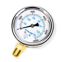 """Tailonz Pneumatic 1/4"""" NPT 2.5"""" FACE DIAL Stainless Steel (0~10000Psi)Liquid Filled Pressure Gauge WOG Water Oil Gas Lower Mount"""