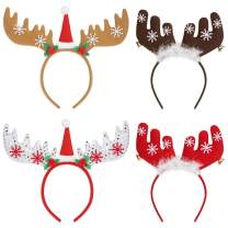 Frcolor Christmas Reindeer Antlers Headband, Reindeer Antler Holiday Headband for Kids Adults Christmas New Year Festive Holiday Party Supplies, 4PCs