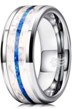THREE KEYS JEWELRY Glowing Tungsten Ring for Men with Blue Opal Inlay Unique Band Luminous in The Dark