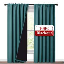 NICETOWN Blackout Insulated Patio Curtains, Laundry Room Decor Window Treatment Curtains, Thermal Insulated Energy Smart Drapes for Villa, Hall and Studio, Sea Teal, Set of 2, 52 inches x 95 inches