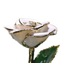 Forever Rose, a Genuine, One of a Kind, Real Frozen White Sparkle Rose, Hand Dipped in Lacquer and Trimmed in 24K Gold