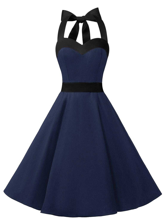 DRESSTELLS 50s Dress Vintage Cocktail Halter Dress 1950s Rockabilly Audrey Dress