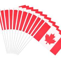 """Anley Canada Stick Flag, Canadian 5x8 inch Handheld Mini Flag with 12"""" White Solid Pole - Vivid Color and Fade Resistant - 5 x 8 inch Hand Held Stick Flags with Spear Top (1 Dozen)"""