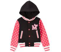 unik Girl Varsity Jacket with Polka Dot Sleeves Red Pink