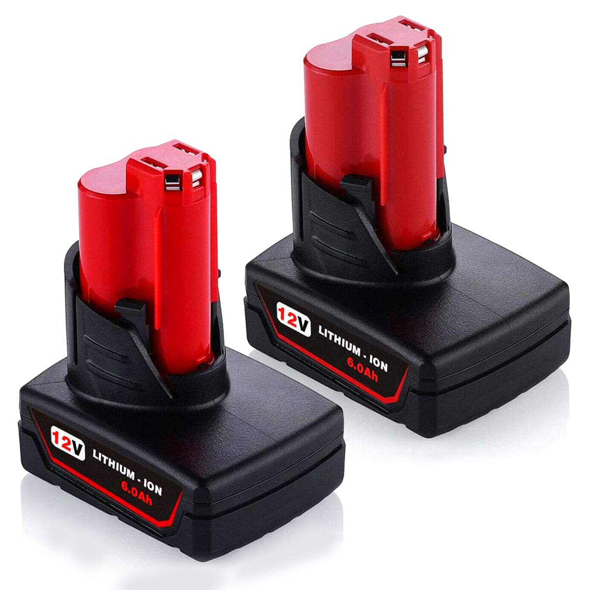 2Pack 6.0Ah Battery for Milwaukee, 12-Volt Lithium-ion Battery for Milwaukee 48-11-2411 Lithium